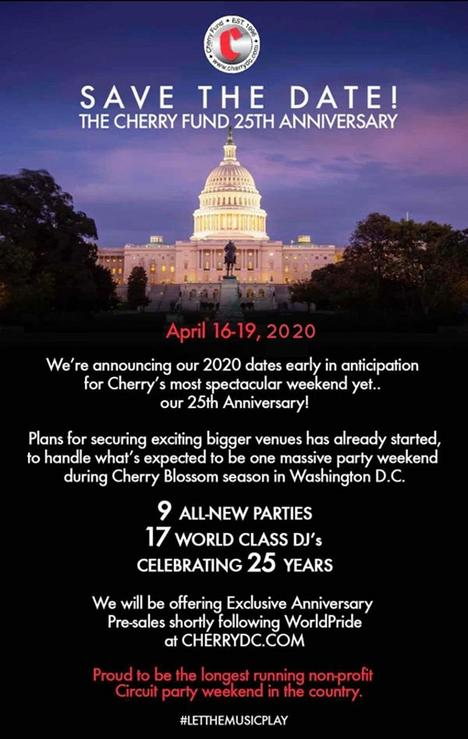 Washington, DC - April 16-19, 2020 - The Cherry Funds Cherry Weekend 25th Anniversary