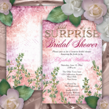 Vintage pink floral surprise bridal shower invitations