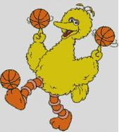 Cross Stitch Pattern Chart of Muppet Big Bird Basketball