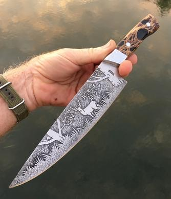 Deer in the Woods themed custom etched Chef knife. Free step by step instructions from www.DIYeasycrafts.com