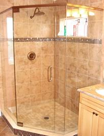 Frameless corner neoangle shower with header