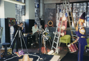 Dawn DeDeaux filming St Augustine Band Drummer in her studio in 1995 with studio assistant Mac Taylor