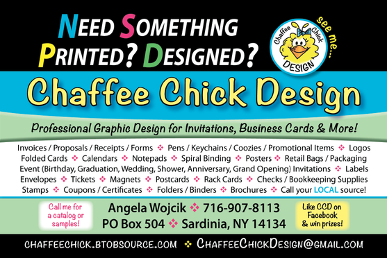 Postcard describing Chaffee Chick Design 2015