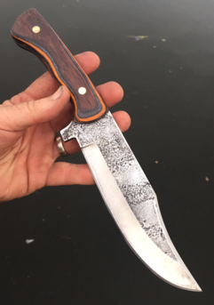 How to make a High Carbon Steel Bowie knife with metal etched blade texture. FREE step by step instructions. www.DIYeasycrafts.com