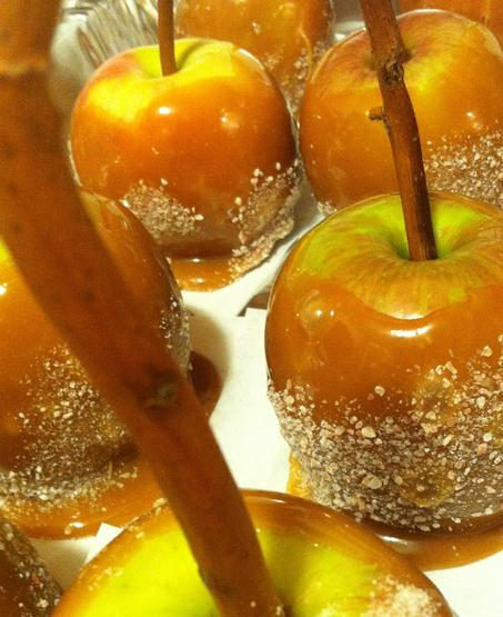 Carmel apples, candy apples, toffee crunch, wood sticks