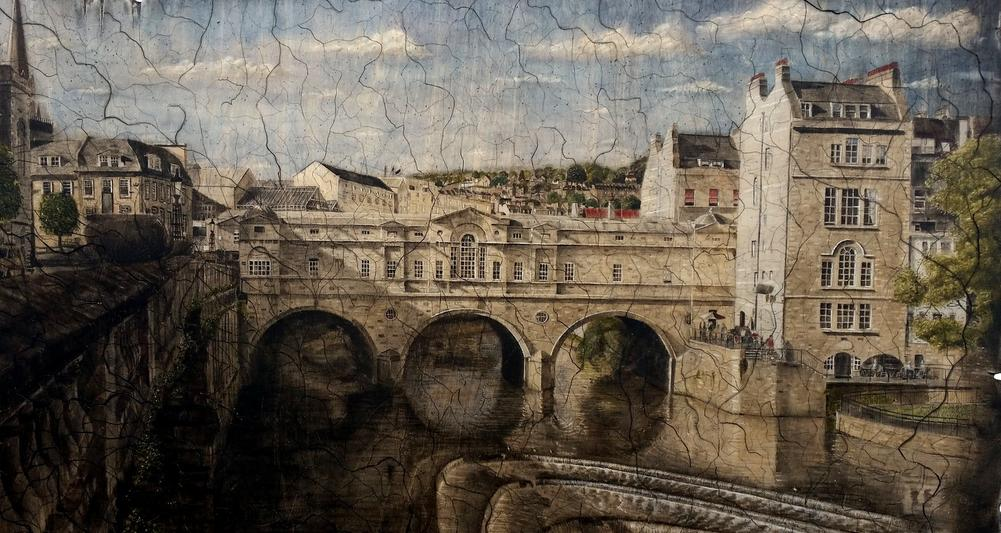 Pulteney Bridge, Bath. Watercolour painting on wood.2018