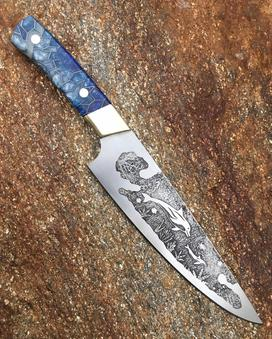 Custom hand made Chef knife with Dolphin Nautical blade etching. Functional metal art by Dan Berg. Free step by step instructions from www.diyeasycrafts.com