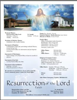 Resurrection's Weekly Bulletin