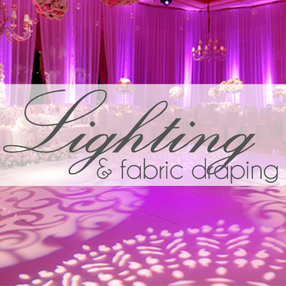 event lighting, fabric draping, backdrops