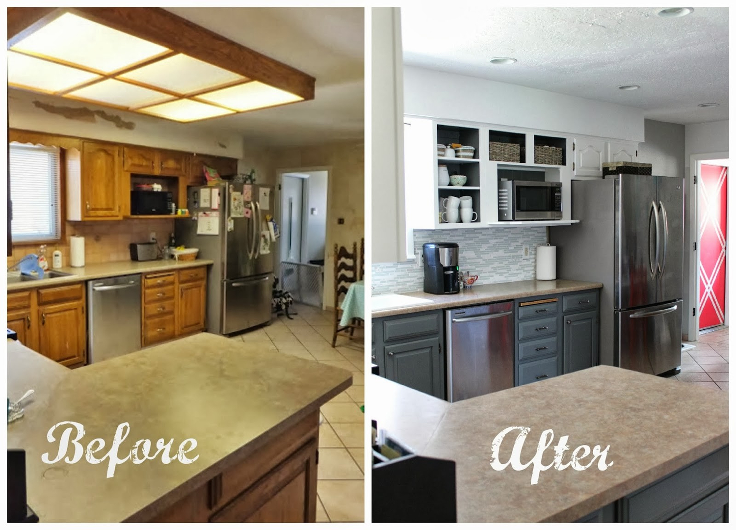 L Shaped Kitchen Remodel Before And After before & after