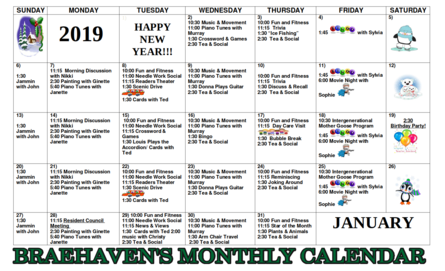Braehaven Monthly Activity Calendar for January 2019