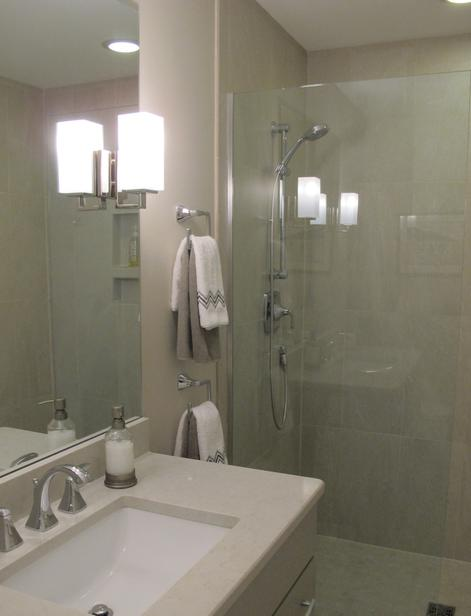 Curbless shower stall in Guest Bathroom