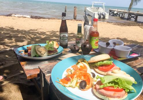 Lunch on the shores of the Caribbean Sea at Leaning Palm Resort.