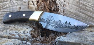 How to make a beautiful hunter style knife with Walnut scales, brass bolsters and two tone blade metal etching. FREE step by step instructions. www.DIYeasycrafts.com