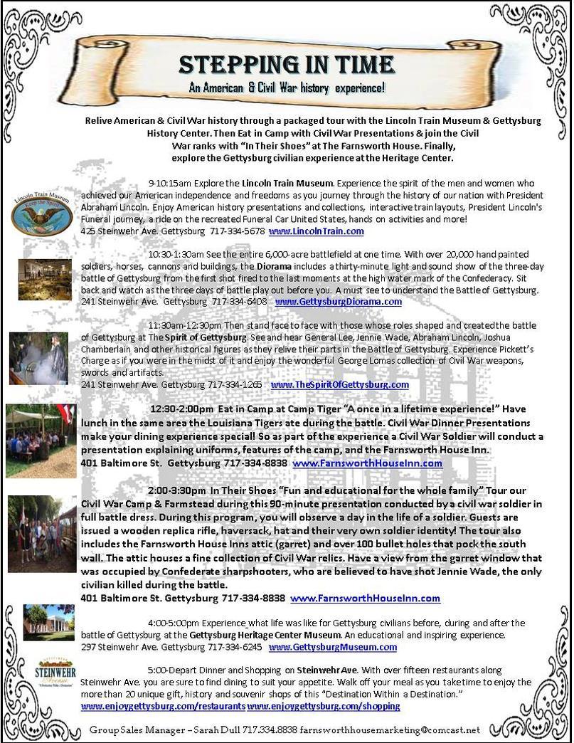 gettysburg group trip ideas