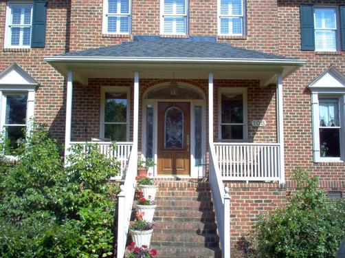 Front porch provides an entrance protected from the elements