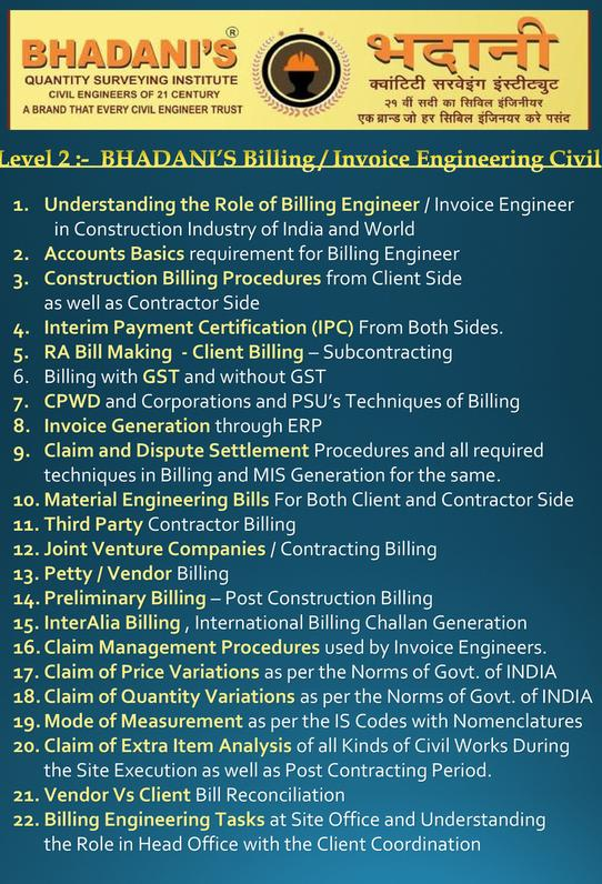 BILLING ENGINEER COURSES FOR CIVIL ENGINEERS IN DELHI