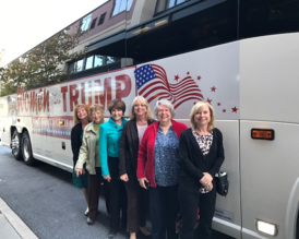 Club members Jennie McDonald, Pam Danz, Judy Abrell, Betty Budd, Doris Hawkins and Betty Hudson on the Women for Trump bus.