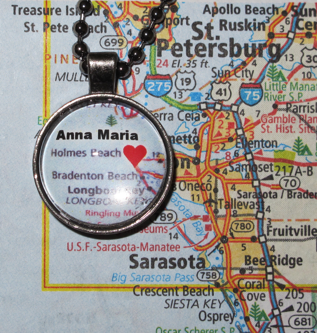 Love On The Spot Customized Map Jewelry Souvenir Pendants - Florida map ruskin