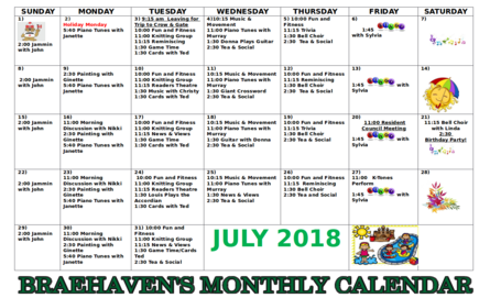 Braehaven Monthly Activity Calendar for July 2018