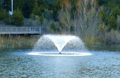 Picture of the fountain at the Boardwalk Pond