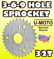 32T 3-6-9 hole sprocket