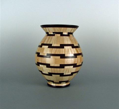 Turned Wood Segmented Vases
