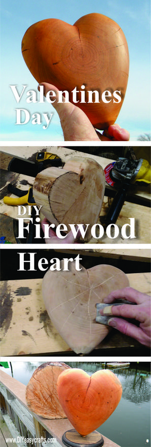 Valentines Day Firewood Heart DIY woodworking craft project. www.DIYeasycrafts.com