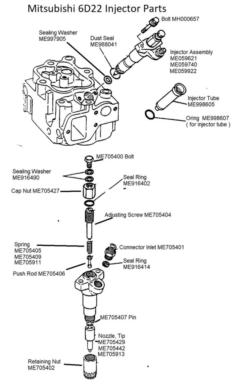 Mitsubishi 6D22 Injector Parts