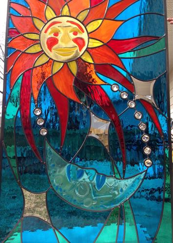 custom stained glass, sun and moon, fused glass calgary ab