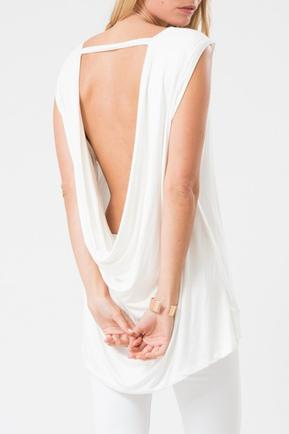 White Open Back Drape Top