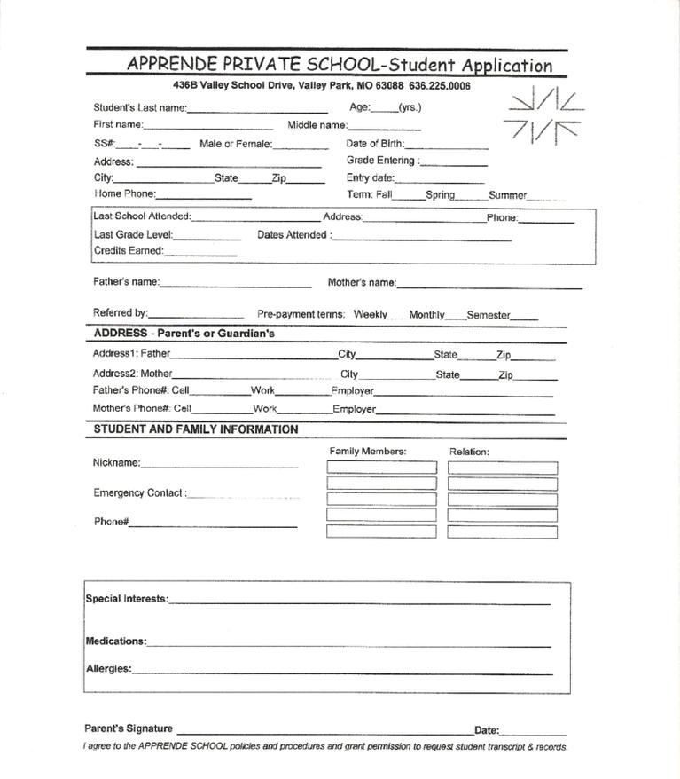 APS Student Enrollment Form
