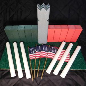 www.kubb.games plastic colorful kubb sets made in the USA - Swedish game - viking game - fun game - new game - plastic kubb - wood kubb - Classic Plastic Kubb - red green gray