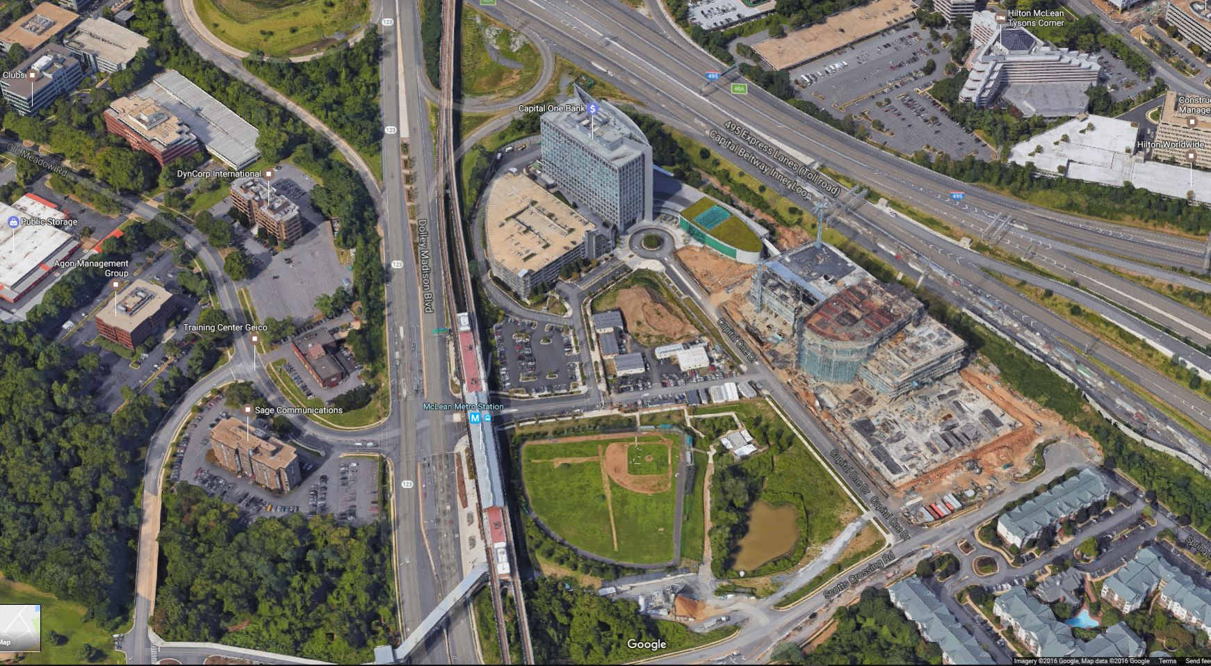 Tysons Metro Rail - Google satellite maps street view