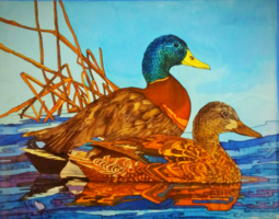 Malard Ducks, Original Silk Painting, Tracy Harris, Mallard Ducks