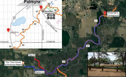 riding directions from Horserider's campground to Trout House Rushing Waters Palmyra