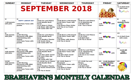 Braehaven Monthly Activity Calendar for September 2018