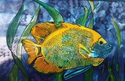 Angelfish, Silk artist Tracy Harris, Silk Painter, Gutta, Water Based Risist, Silk Dye