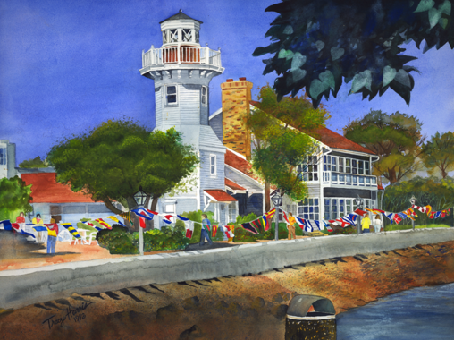Seaport Village, San Diego, CA Watercolor Artist Tracy Harris, Limited Edition Giclee for sale