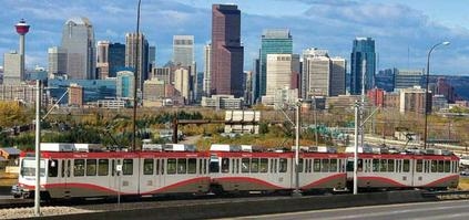 C Train with Calgary Skyline in Background