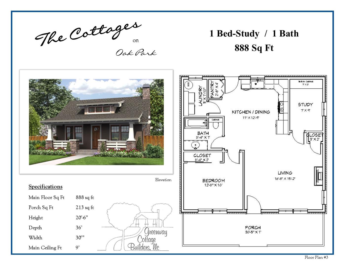 Floor Plans 1 & 2 Bedroom Cottages