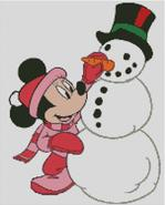 Cross Stitch Chart Minnie Mouse and Snowman