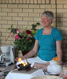 Ellie Hadsall performing agnihotra and additional Vedic healing fire ceremony at Spring equinox. Yagnya, agnihotra, homa, havan