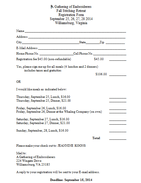 Fall Registration Form