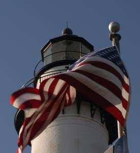 light house with flag