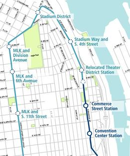 Tacoma Link Rail Extension Map