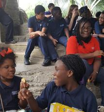 Sixth graders during a field trip to the Zoo