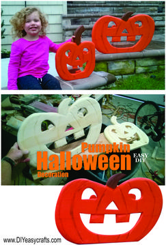 How to make Halloween Wood Pumpkin decorations. Easy step by step instructions. www.DIYeasycrafts.com