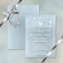 dove and cross 5x7 portrait baby boy baptism invitations
