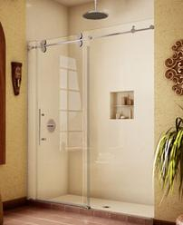 Frameless sliding shower door barn style